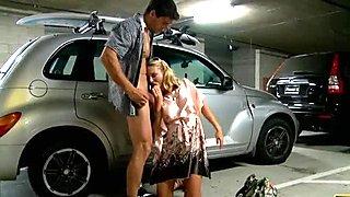 Blonde slut Brenda James gives blowjob in parking lot