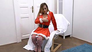 Four Sexy Santas Babes Give Real Orgasm