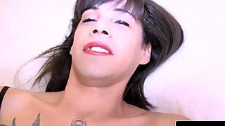 Slender tattooed fembois solo masturbating