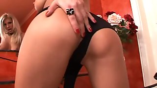 Hot like hell blondie Clara G stimulates her wet pussy