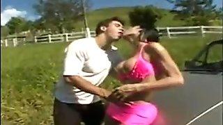 Ladyboy fucked outdoors